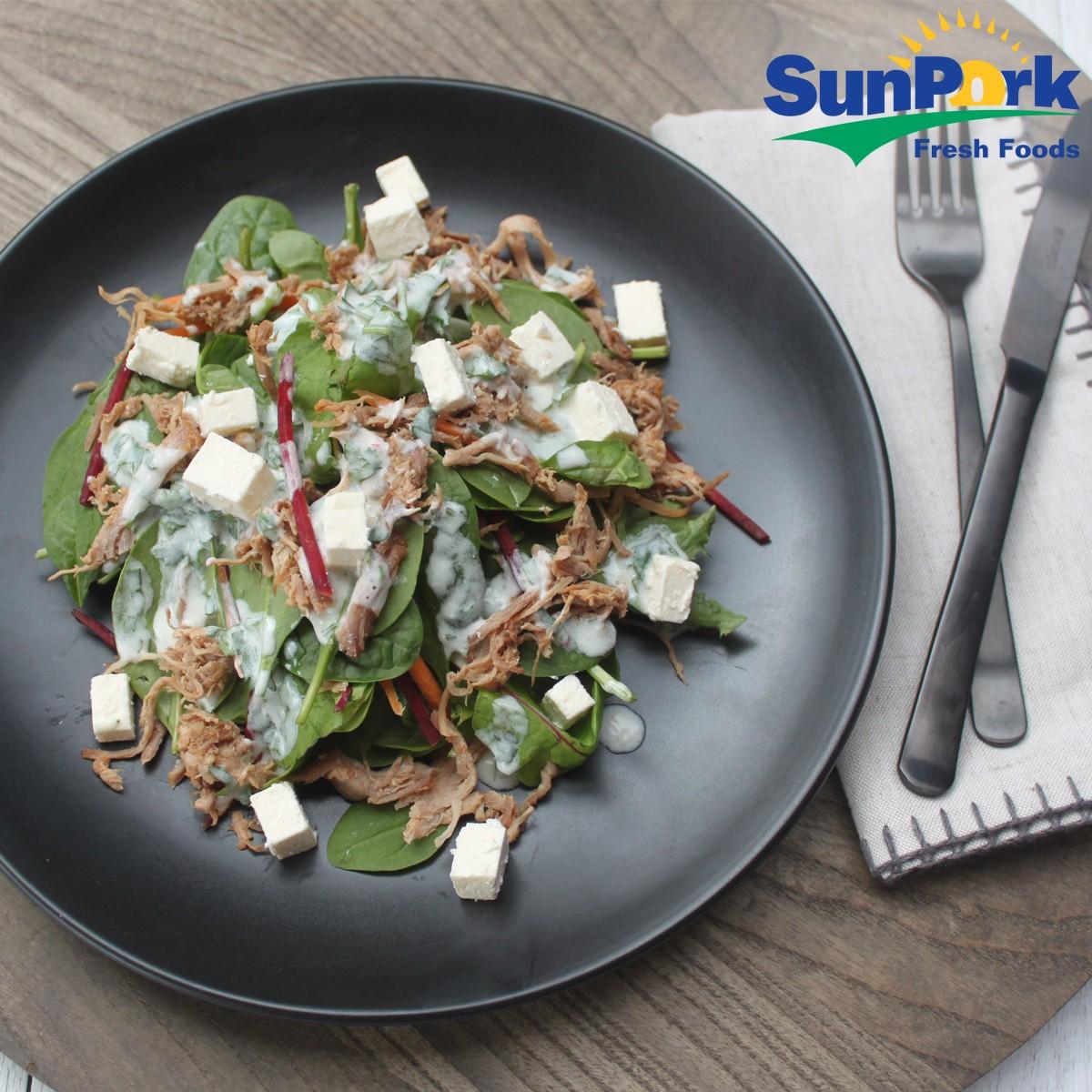 Pulled Pork and Feta Salad - Three Aussie Farmers Pulled Pork