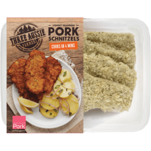 Three Aussie Farmers Lightly Seasoned Pork Schnitzel