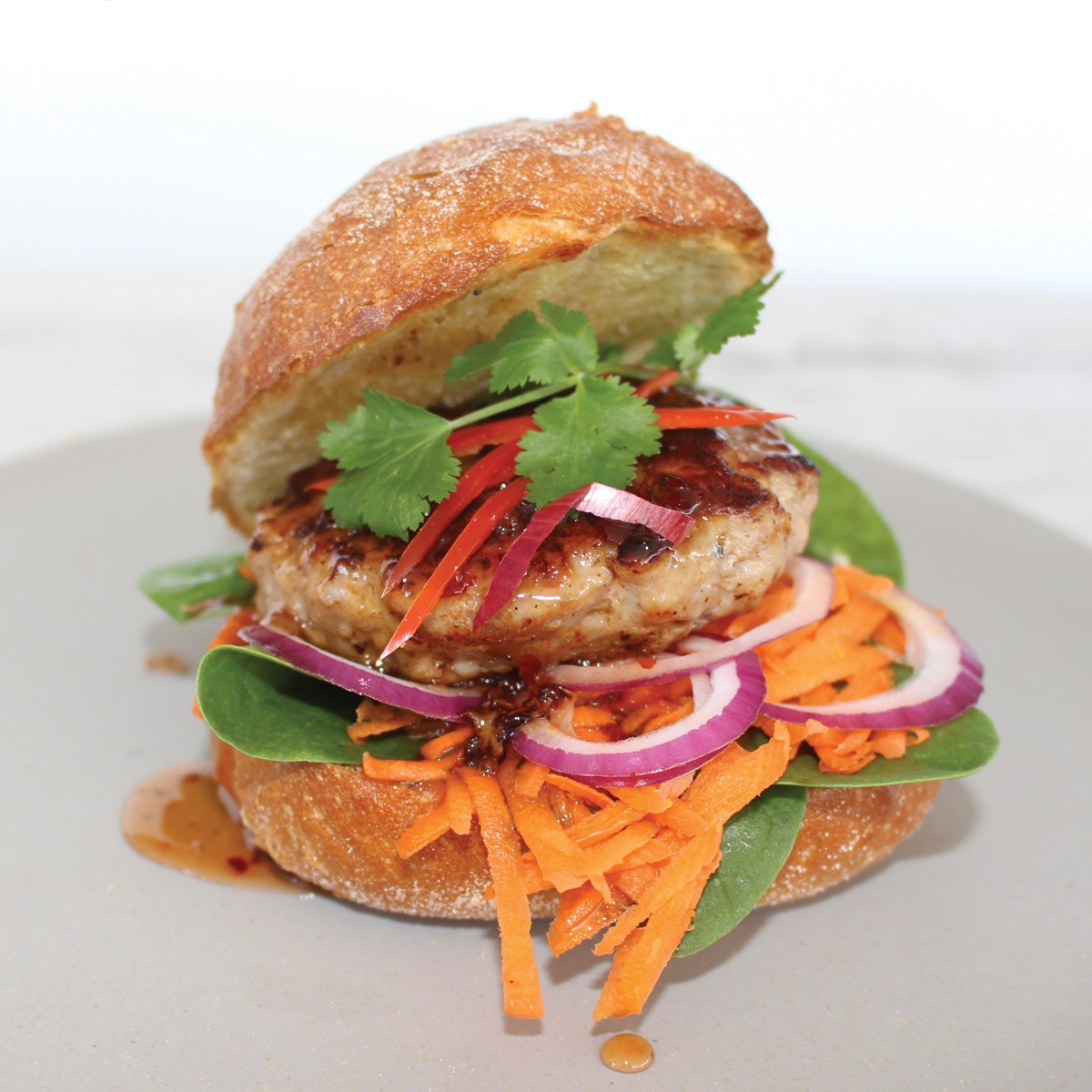 Asian Style Pork Burger with Chilli Jam - SunPork Pork Mince
