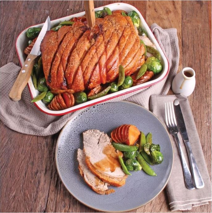 Pork Leg Roast with Hasselback Sweet Potatoes - SunPork Leg Roast