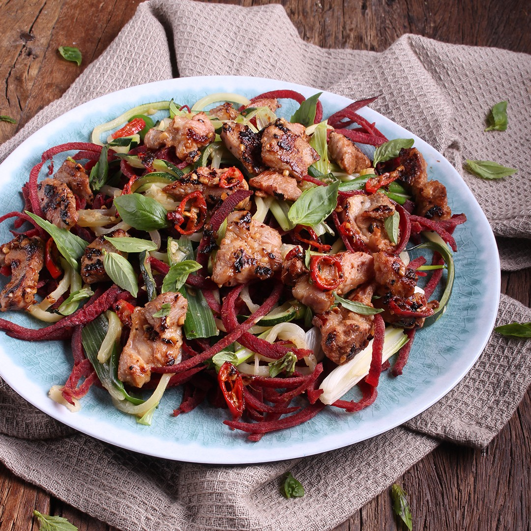 Honey Pepper & Ginger Pork Stir-Fry With Veggie Noodles - Three Aussie Farmers Pork Scotch Fillet in Honey Pepper Glaze