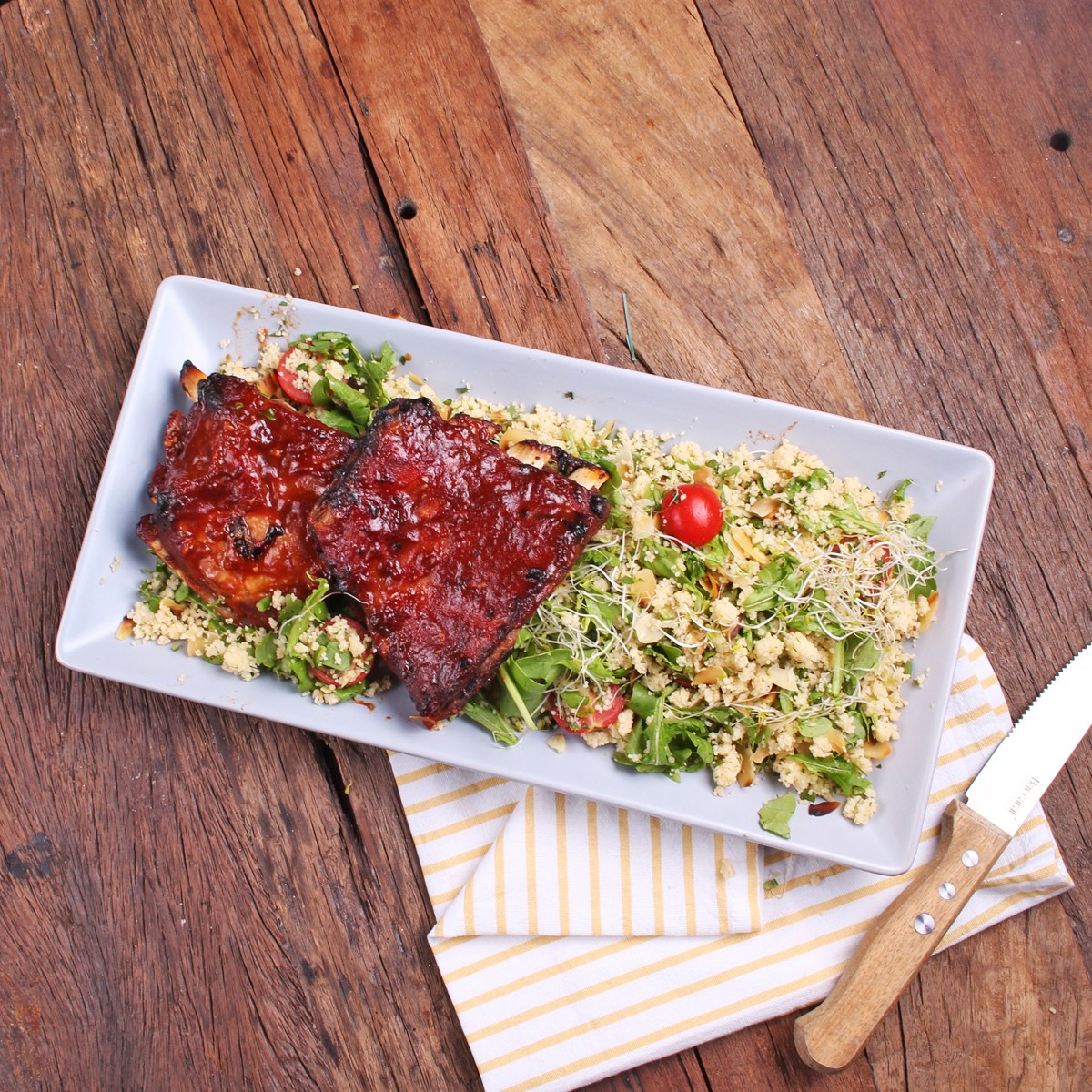 Sweet And Spicy BBQ Pork Ribs With Herbed Cous Cous - Three Aussie Farmers Sweet and Spicy BBQ Pork Ribs