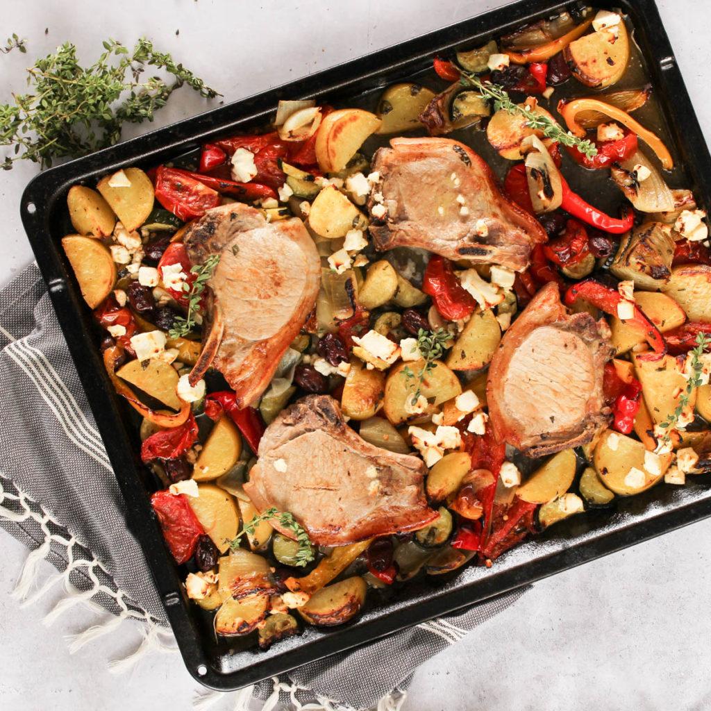 Greek Pork Chop Tray Bake Recipe by SunPork Fresh Foods