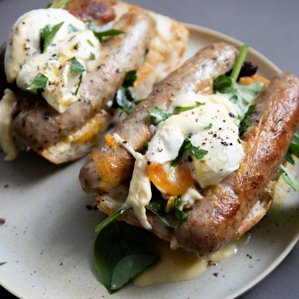 Farmhouse Sausage Eggs Benedict Recipe - Three Aussie Farmers Dan and Steph's Farmhouse Pork Sausage