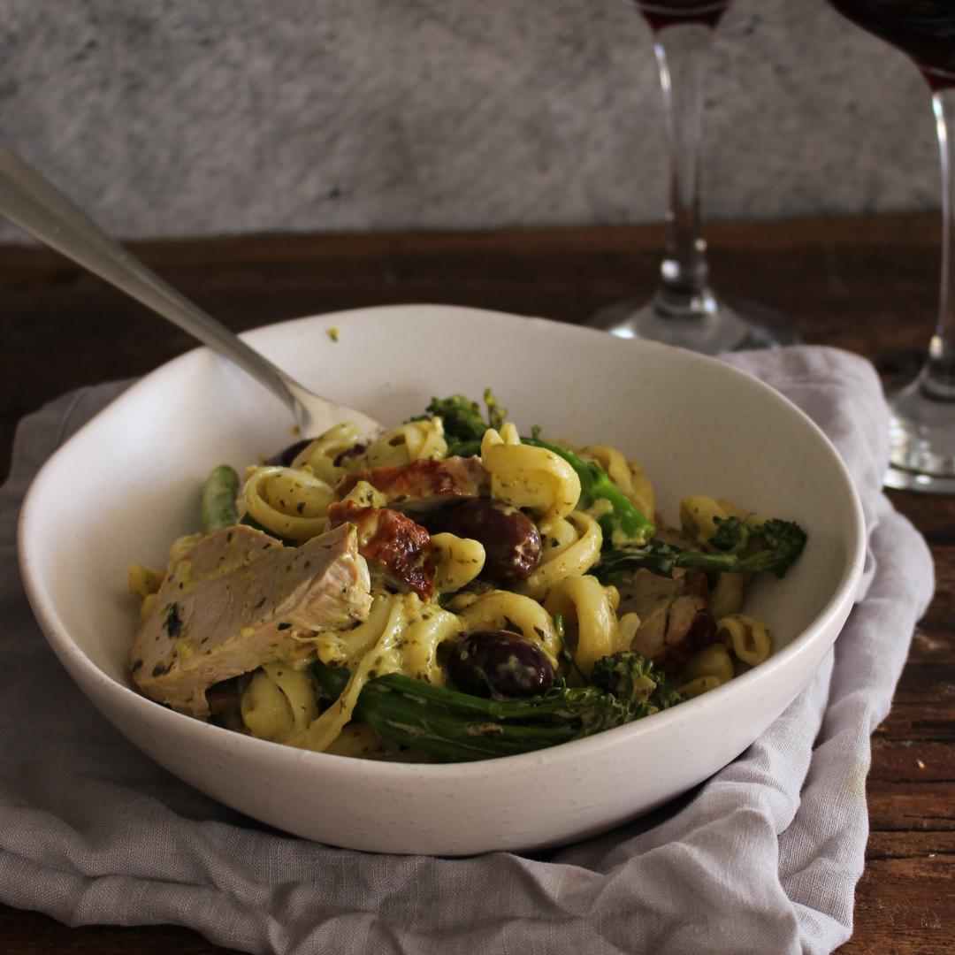Pork Tenderloin & Pesto Orecchiette