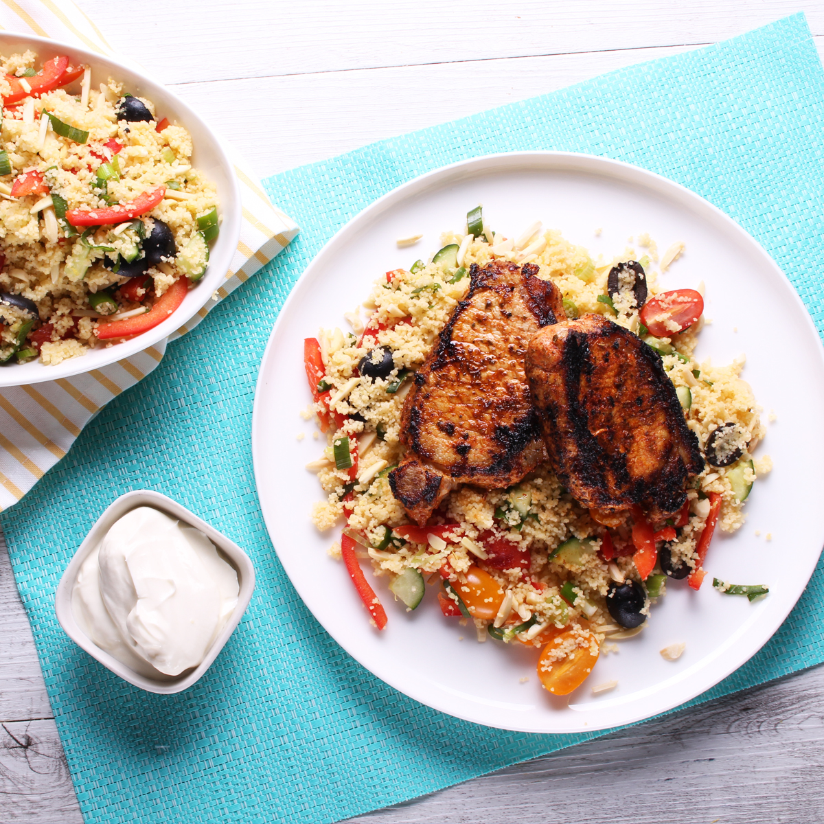 Greek Loin Steaks with Mediterranean couscous - pork loin steaks