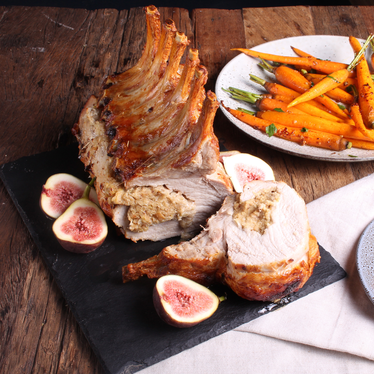 Fig and Apple Stuffed Pork Rib Rack wih Garlic Butter Dutch Carrots - Pork Rib Rack