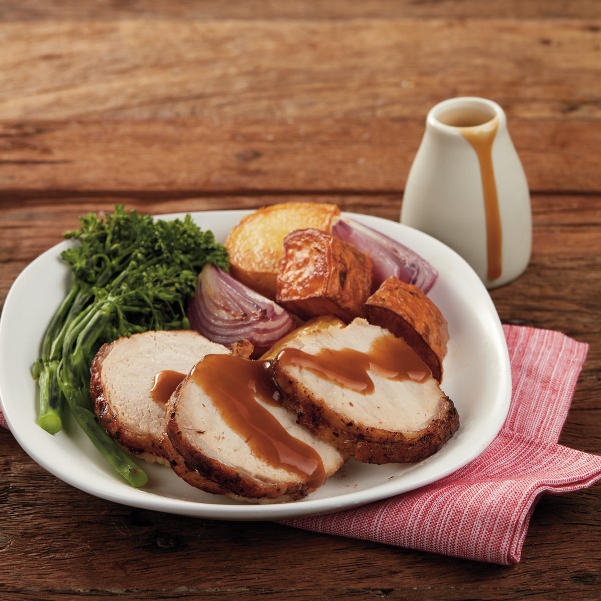 Mini Roast with Onion Gravy & charred broccolini - SunPork Mini Roast with rich onion gravy