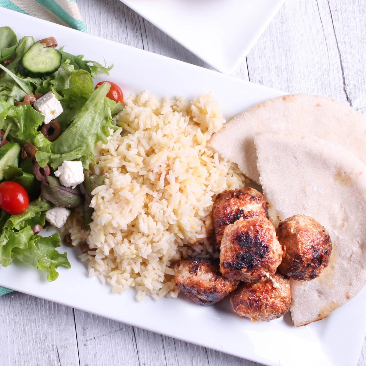 Pork Koftas with Turkish rice pilaf - mince