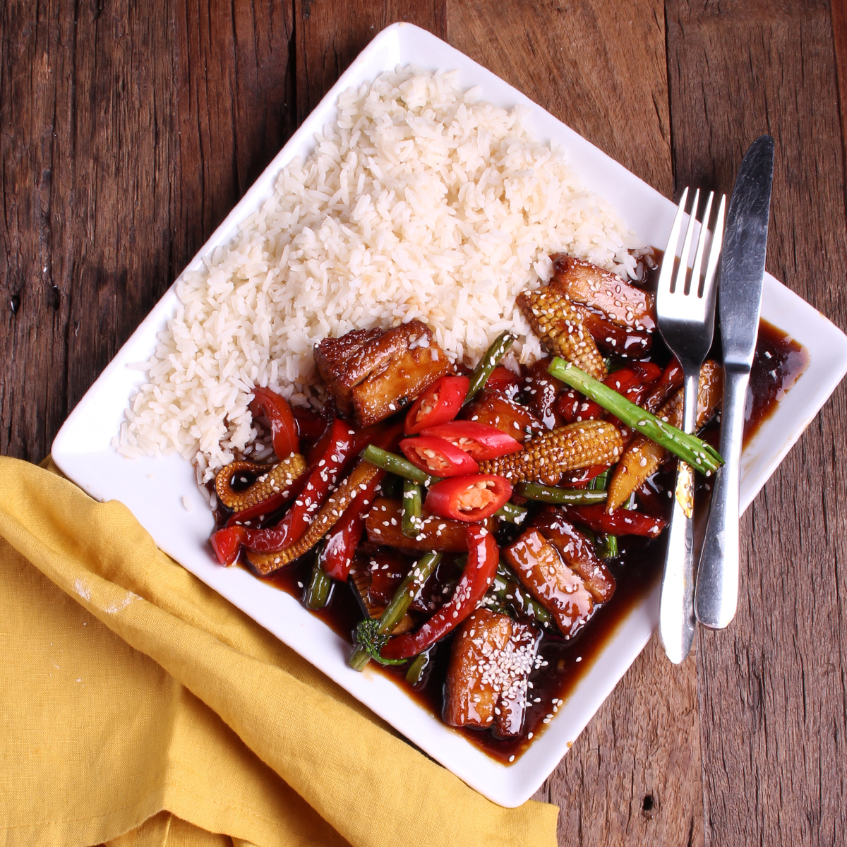 Mongolian Pork Belly Stirfry - pork belly