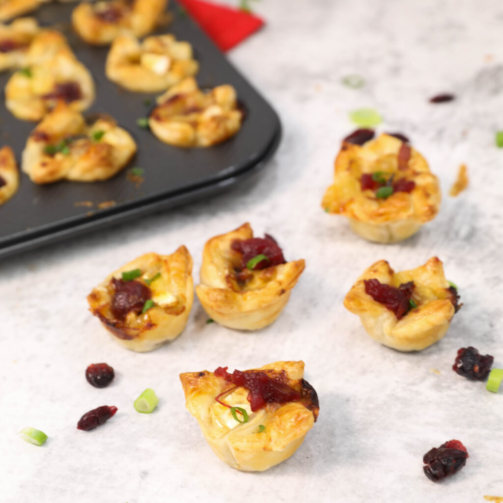 Savory Bacon, Cranberry & Brie Tartlets