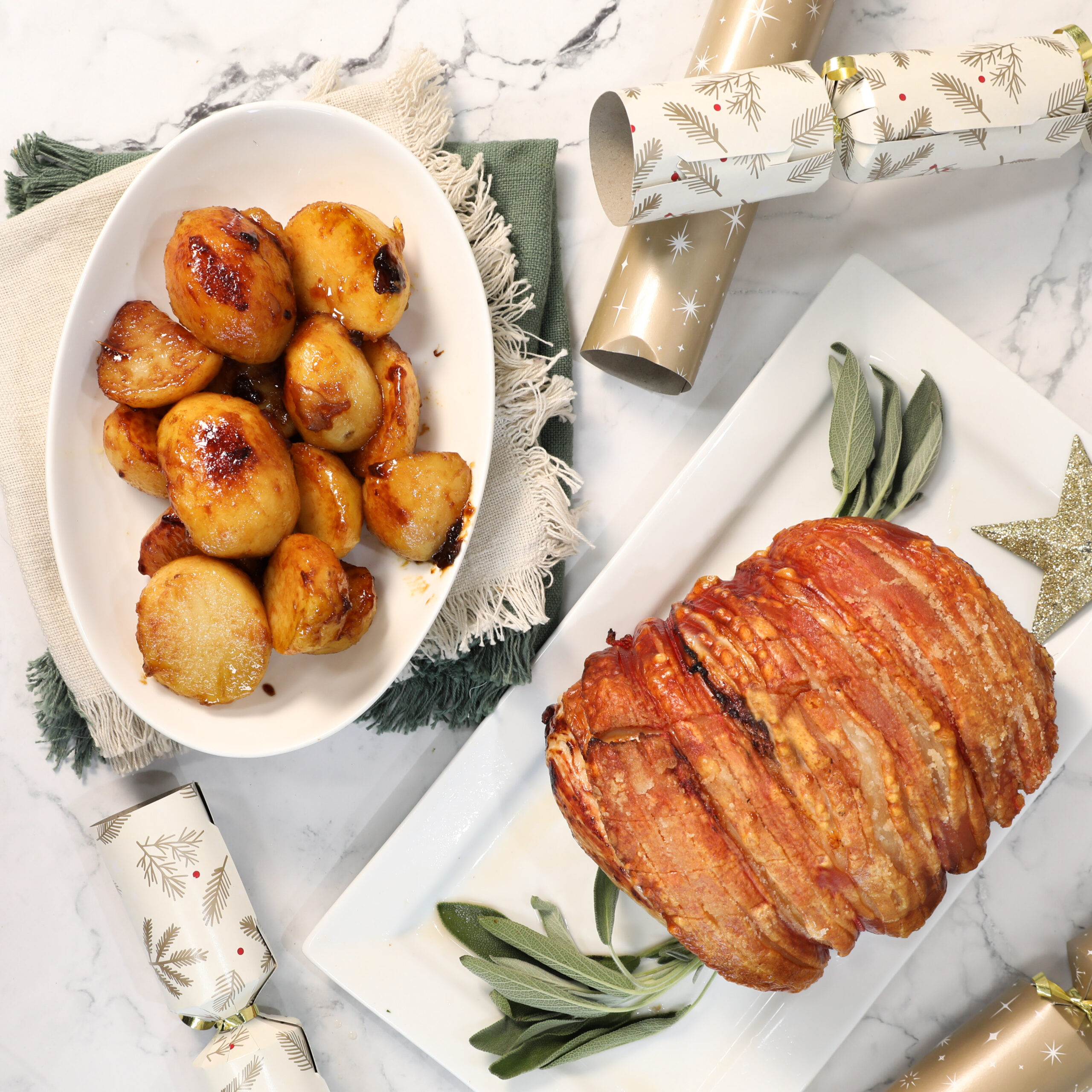 Leg Roast with salted caramel potatoes